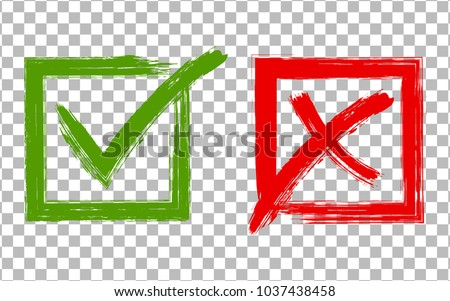 Green brush symbolic OK and red X icons in square frames. Tick and cross signs, check marks graphic design. Acceptance and rejection symbol vector buttons for vote, election choice on transparent.