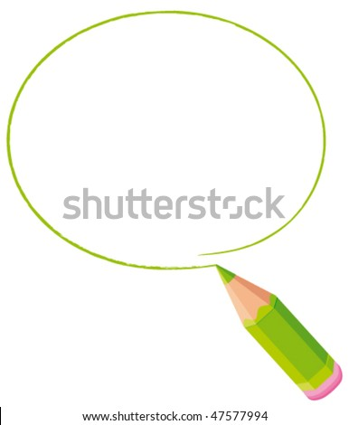Green bubble drawn with a colore d pencil. Vector frame.