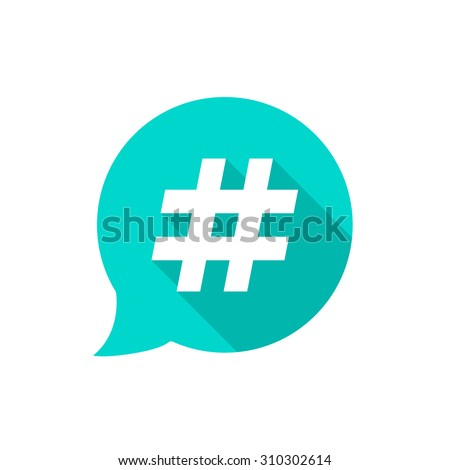 green bubble with hashtag and long shadow. concept of number sign, social media, micro blogging pr popularity. isolated on white background. flat style trend modern logotype design vector illustration
