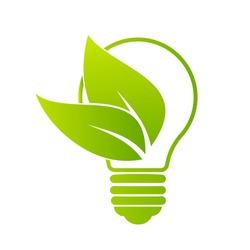 Green Bulb Leaf Logo Design Vector Symbol Illustration