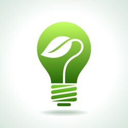 Green Bulb with leaf inside on white background.