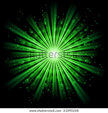 Green bursting star isolated in black space