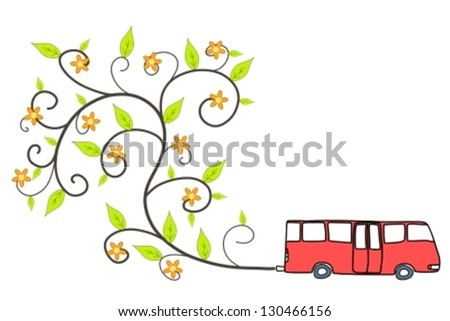 Green bus - environmentally friendly low emissions vehicle with floral ornament coming out of exhaust. Eco concept.