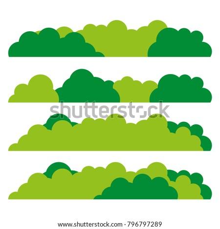 Green bush set icon. Flat design. Vector. Foto d'archivio ©