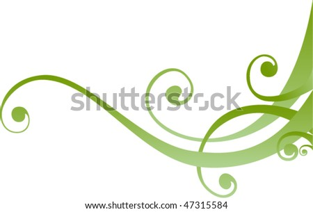 Green business card design. Floral decor.