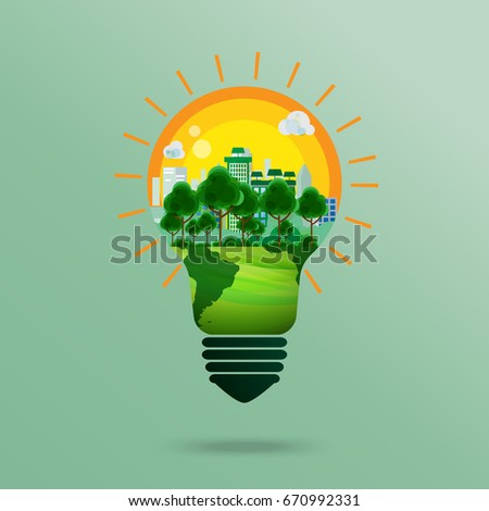 Green business conceptual design.Nature and Eco conservation concept.With green city landscape in light bulb shape.Vector illustration.