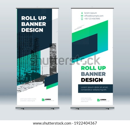 Green Business Roll Up Banner. Abstract Roll up background for Presentation. Vertical roll up, x-stand, exhibition display, Retractable banner stand or flag design layout for conference, forum.
