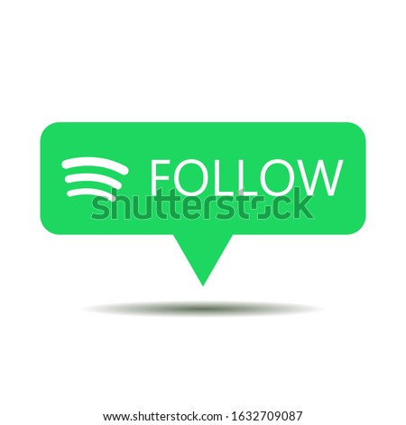 Green button follow for social media websites and mobile apps.