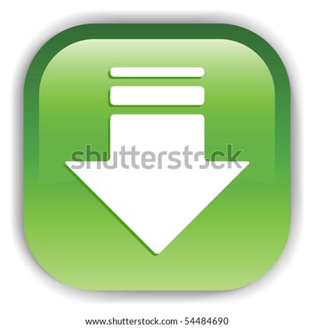 Green Button. Vector illustration.