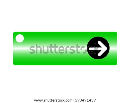 Green button with arrow symbol on white background. Vector illustration.