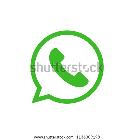 Green button with phone and bubble chat icon. isolated vector.