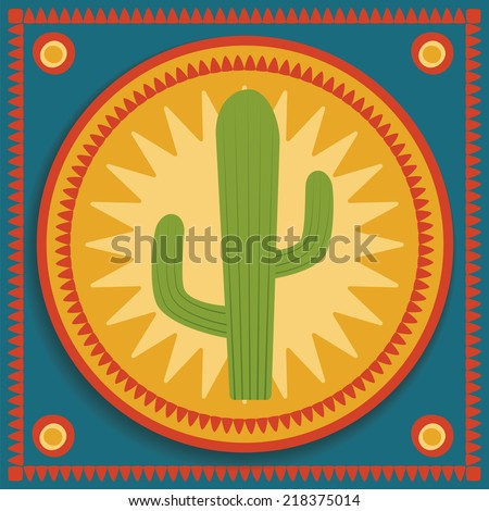 green cactus on blue and orange