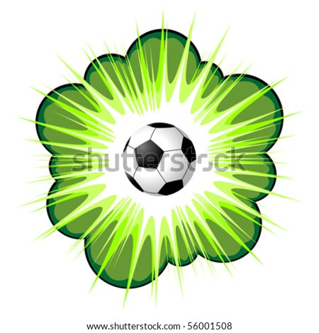 Green call out area with soccer ball over white - stock vector