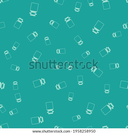 Green Can container for milk icon isolated seamless pattern on green background.  Vector ストックフォト ©
