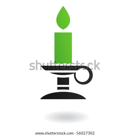 green candle in candle holder