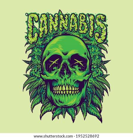 green cannabis skull weeds
