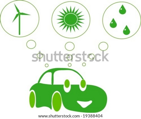 Green car dreaming of alternative energy