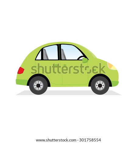 green car isolated vector