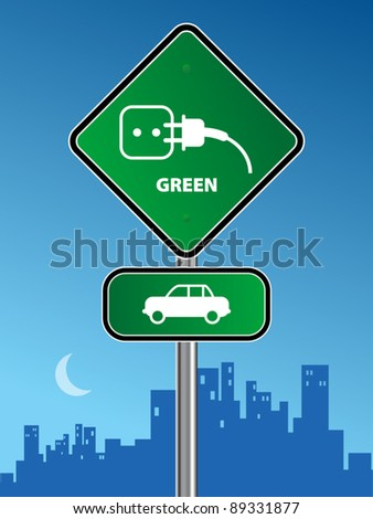 Green car sign on urban background, vector illustration