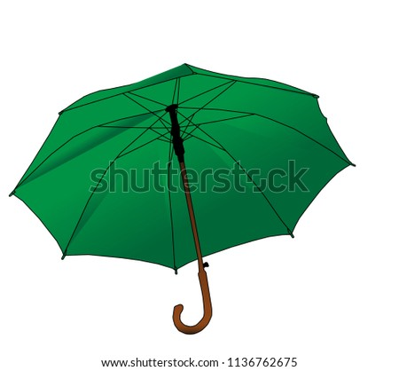 Green cartoon umbrella - cane icon isolated on white background. Opened big parasol silhouette, womans accessory for protecting of rain or sunlight, security concept, vector illustration, eps 10