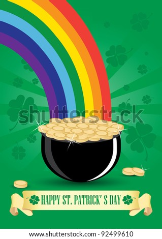 Green cauldron icon with gold coins and rainbow