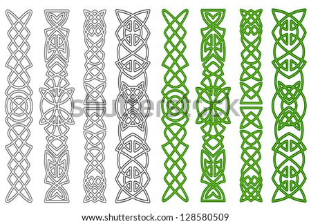 Green celtic ornaments and elements for medieval embellishments Jpeg version also available in gallery