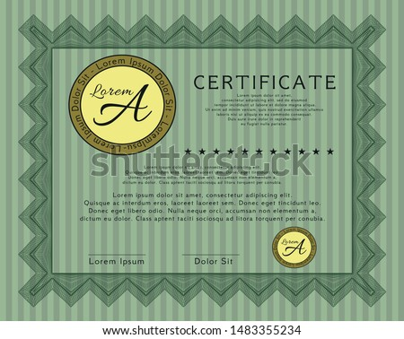 Green Certificate diploma or award template. Excellent design. Customizable, Easy to edit and change colors. With guilloche pattern.