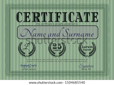 Green Certificate. Money Pattern. Customizable, Easy to edit and change colors. With quality background.
