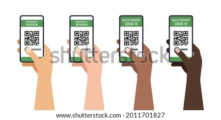 Green certificate of vaccination on mobile phone screen with qr-code pass check mark vaccinated. Health passport app travel protection in different skin color hands. Flat design vector illustration Photo stock ©