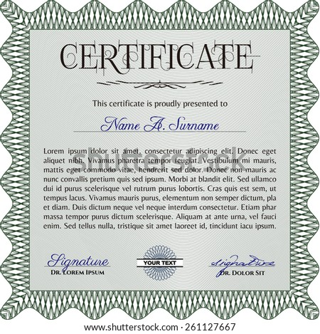 Green certificate or diploma template