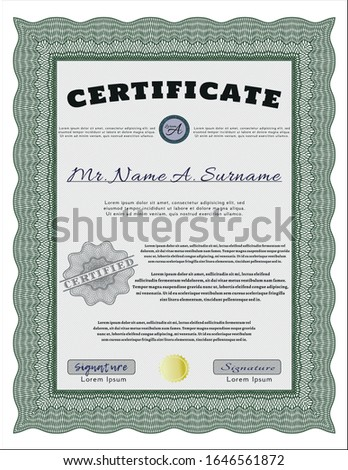 Green Certificate or diploma template. With great quality guilloche pattern. Money style design. Customizable, Easy to edit and change colors.