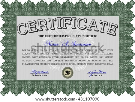 Green Certificate. Printer friendly. Complex design. Detailed.