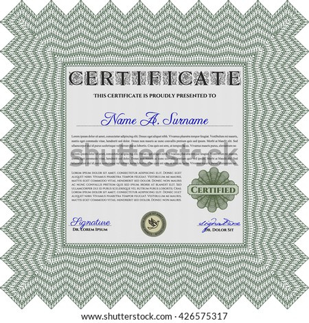 Green Certificate template. Nice design. Easy to print. Customizable, Easy to edit and change colors.