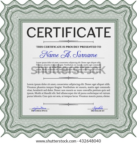 Green Certificate template or diploma template. Complex background. Beauty design. Vector pattern that is used in currency and diplomas.
