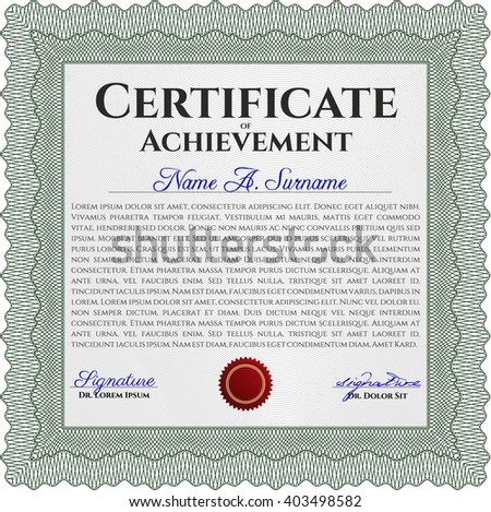 Green Certificate template or diploma template. Complex background. Vector pattern that is used in currency and diplomas.Superior design.