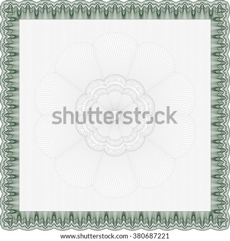 Green Certificate template or diploma template. Vector pattern that is used in currency and diplomas.Complex background. Superior design.