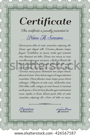 Green Certificate template. Printer friendly. Nice design. Detailed.
