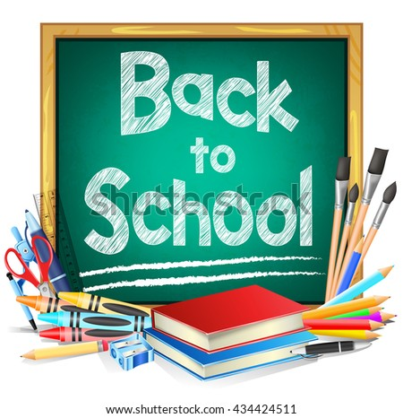 Green Chalkboard with Back to School Text and School Supplies Isolated in White Background. Vector Illustration