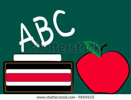 green chalkboard with chalk eraser and apple - education - vector