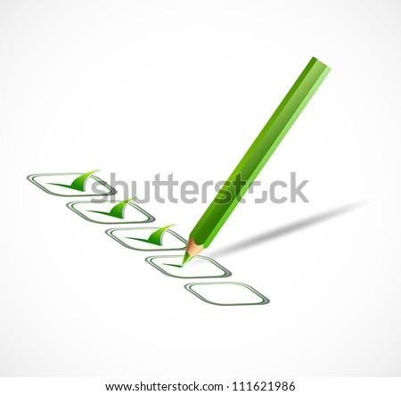 Green check list. Vector