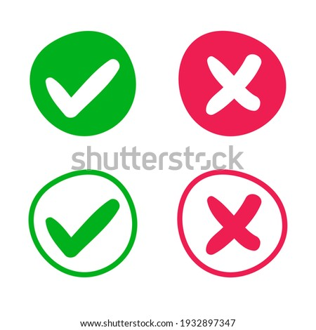 green check mark and red cross web buttons,hand written vector illustration.  Foto stock ©