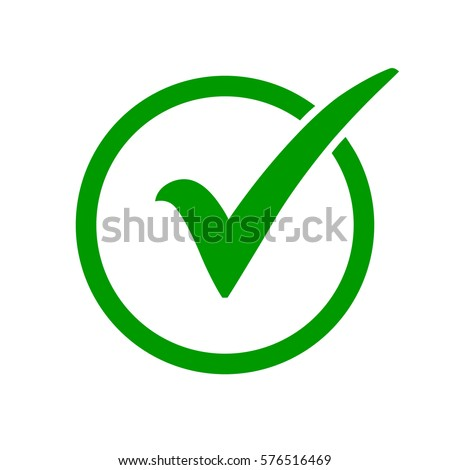 Green check mark icon in a circle. Tick symbol in green color, vector illustration.