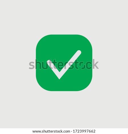 Green check mark icon. Vector check icon