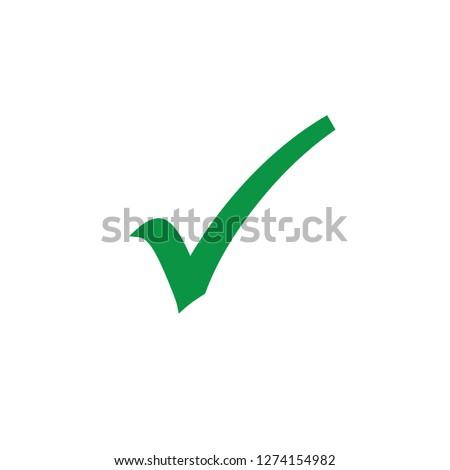 Green check mark icon. Vector Illustration