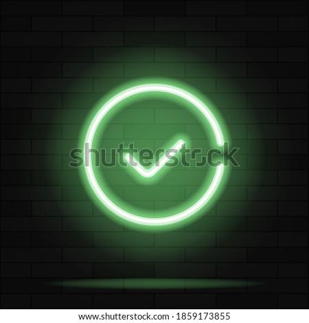 Green check mark Neon Sign Vector. Check list button neon signboard, design template, modern trend design, night neon signboard, night bright advertising, light banner, light art. Vector illustration