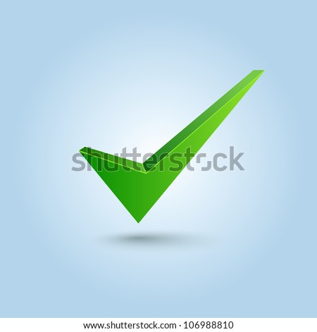 Green check mark symbol isolated on blue background