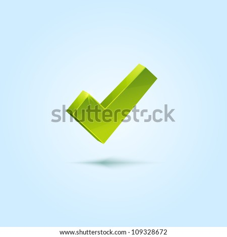 Green check mark symbol isolated on blue background. This vector icon is fully editable.