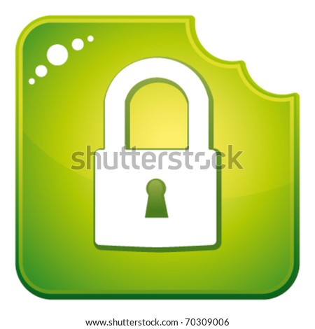 Green chewed security button. Vector icon.