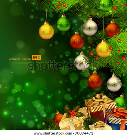 green  Christmas background with various of gifts and green fir tree