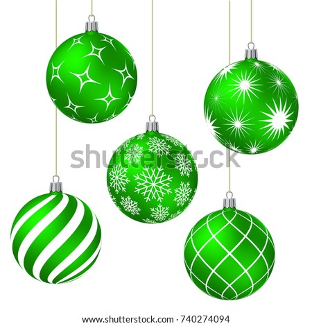 Green christmas balls with different patterns on white. Vector illustration.